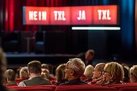 Diskussionsveranstaltung zum Thema Ja oder Nein zur Schliessung des Berliner Flughafen Tegel.<br /> Am Dienstag den 19. September 2017 diskutierten der Regierende Buergermeister Michael Mueller, Wirtschaftssenatorin Ramona Pop, der berliner FDP-Vorsitzende Sebastian Czaja und andere in der Urania ueber die Zukunft des Flughafen Tegel.<br /> Zuvor hatte es eine Demonstration von Befuerwortern der Schliessung des Berliner Flughafen Tegel in Berlin gegeben.<br /> Ca. 300.000 Menschen leben in der direkten Umgebung des Flughafen und sind vom Fluglaerm betroffen. Sie hoffen, dass der Flughafen BER endlich fertig gestellt und Tegel dann, wie vertraglich zwischen Berlin, Brandenburg und dem Bund vereinbart, geschlossen wird.<br /> Die Berliner FDP hat mit dem Instrument Volksbegehren durchgesetzt, dass am 24. September die Berlinerinnen und Berliner darueber abstimmen sollen, ob der Flughafen Tegel offenbleiben soll. Sie will dies mit dem Volksbegehren verhindern um damit gegen den Rot-Rot-Gruenen Senat Stimmung zu machen. Finanziert wird die Kampagne u.a. von der Fluggesellschaft Ryanair.<br /> 19.9.2017, Berlin<br /> Copyright: Christian-Ditsch.de<br /> [Inhaltsveraendernde Manipulation des Fotos nur nach ausdruecklicher Genehmigung des Fotografen. Vereinbarungen ueber Abtretung von Persoenlichkeitsrechten/Model Release der abgebildeten Person/Personen liegen nicht vor. NO MODEL RELEASE! Nur fuer Redaktionelle Zwecke. Don't publish without copyright Christian-Ditsch.de, Veroeffentlichung nur mit Fotografennennung, sowie gegen Honorar, MwSt. und Beleg. Konto: I N G - D i B a, IBAN DE58500105175400192269, BIC INGDDEFFXXX, Kontakt: post@christian-ditsch.de<br /> Bei der Bearbeitung der Dateiinformationen darf die Urheberkennzeichnung in den EXIF- und  IPTC-Daten nicht entfernt werden, diese sind in digitalen Medien nach §95c UrhG rechtlich geschuetzt. Der Urhebervermerk wird gemaess §13 UrhG verlangt.]