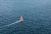 Aerial view of a windsurfer.