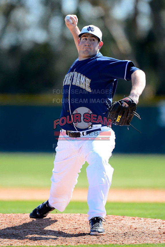 Notre Dame Fighting Irish pitcher Dan Slania #40 during a game against the Mercer Bears at the Buck O'Neil Complex on February 17, 2013 in Sarasota, Florida.  Mercer defeated Notre Dame 5-4.  (Mike Janes/Four Seam Images)