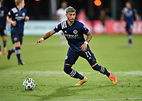 LAKE BUENA VISTA, FL - AUGUST 01: Valentín Castellanos #11 of New York City FC looks for options with the ball during a game between Portland Timbers and New York City FC at ESPN Wide World of Sports on August 01, 2020 in Lake Buena Vista, Florida.