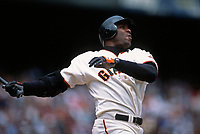 SAN FRANCISCO, CA:  Barry Bonds of the San Francisco Giants bats during a game at Pacific Bell Park in San Francisco, California in 2000. (Photo by Brad Mangin)