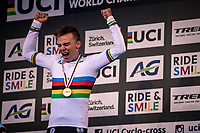 VICTORY!<br /> Thibau Nys (BEL) is the 2020 men's junior world champion<br /> <br /> Men's Junior race<br /> UCI 2020 Cyclocross World Championships<br /> Dübendorf / Switzerland<br /> <br /> ©kramon