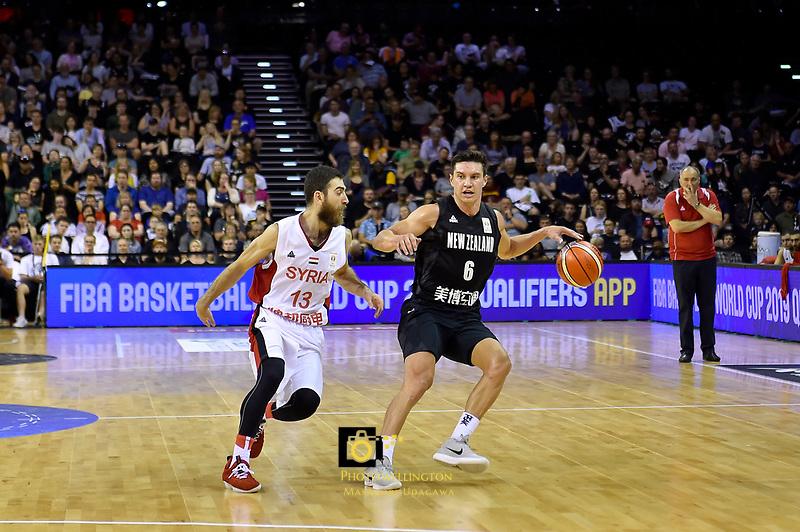 New Zealand Tall Blacks' Jarrod Kenny in action during the FIBA World Cup Basketball Qualifier - NZ Tall Blacks v Syria at TSB Bank Arena, Wellington, New Zealand on Sunday 2 2018. <br /> Photo by Masanori Udagawa. <br /> www.photowellington.photoshelter.com