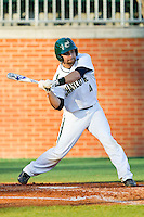 Patrick Raley (4) of the Charlotte 49ers swings at a pitch against the Delaware State Hornets at Robert and Mariam Hayes Stadium on February 15, 2013 in Charlotte, North Carolina.  The 49ers defeated the Hornets 13-7.  (Brian Westerholt/Four Seam Images)