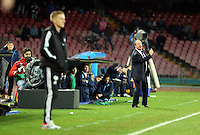 Thursday 27 February 2014<br /> Pictured L-R: A rather compsed Swansea manager Garry Monk and a more animated Napoli manager Rafa Benitez who shouts instructions to his players<br /> Re: UEFA Europa League, SSC Napoli v Swansea City FC at Stadio San Paolo, Naples, Italy.