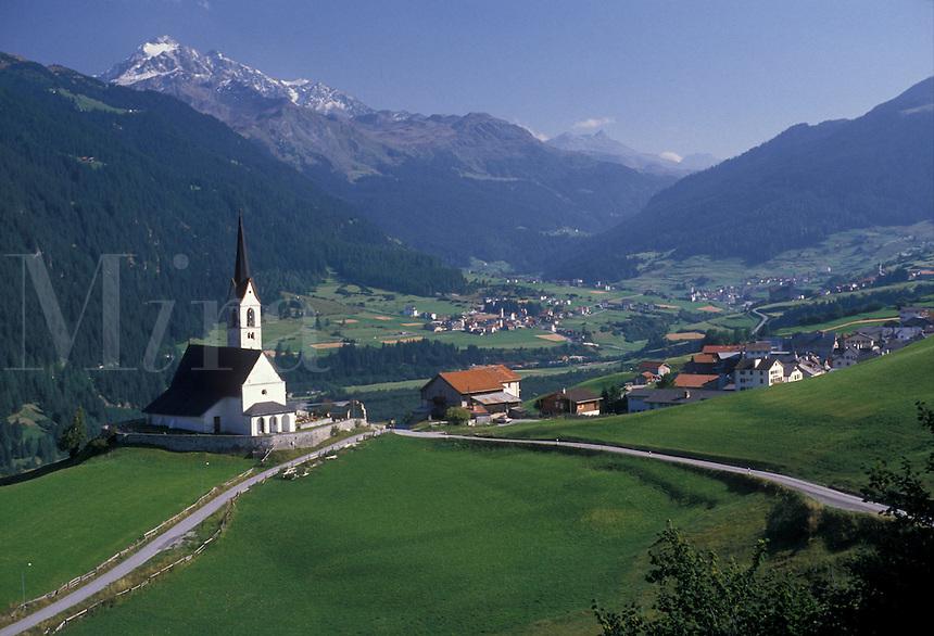 AJ1974, Alps, Switzerland, Graubunden, Europe, Scenic view of the alpine village of Salouf in the Canton of Graubunden.