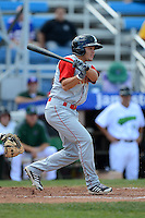Brooklyn Cyclones outfielder Patrick Biondi (8) during a game against the Jamestown Jammers on August 4, 2013 at Russell Diethrick Park in Jamestown, New York.  Jamestown defeated Brooklyn 9-5.  (Mike Janes/Four Seam Images)