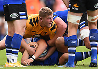 31st August 2020; Recreation Ground, Bath, Somerset, England; English Premiership Rugby, Bath versus Wasps; Jack Willis of Wasps manages to steal the ball at the ruck