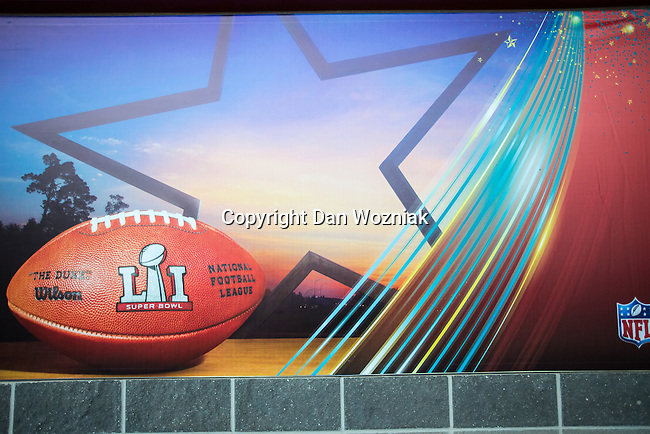Signage at Super Bowl LI at the NRG Stadium in Houston, Texas.