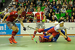 GER - Muelheim an der Ruhr, Germany, February 04: During the FinalFour semi-final men hockey match between Club an der Alster (red) and Mannheimer HC (white) on February 4, 2017 at innogy Sporthalle in Muelheim an der Ruhr, Germany. (Photo by Dirk Markgraf / www.265-images.com) *** Local caption ***