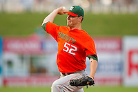 Miami Hurricanes starting pitcher Eric Whaley #52 delivers a pitch to the plate against the Wake Forest Demon Deacons at NewBridge Bank Park on May 25, 2012 in Winston-Salem, North Carolina.  The Hurricanes defeated the Demon Deacons 6-3.  (Brian Westerholt/Four Seam Images)