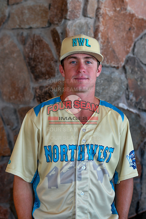 Donnie Walton (25) of the Everett AquaSox and the Northwest League All-Stars poses for a photo during activities before the 2nd Annual Northwest League-Pioneer League All-Star Game at Snowbasin Resort on August 1, 2016 in Ogden, Utah. (Stephen Smith/Four Seam Images)