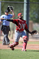 Cincinnati Reds catcher Shedric Long (30) during an Instructional League game against the Kansas City Royals on October 14, 2014 at Goodyear Training Complex in Goodyear, Arizona.  (Mike Janes/Four Seam Images)