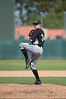 Chicago White Sox relief pitcher Jonathan Stiever (34) delivers a pitch during an Instructional League game against the Oakland Athletics at Lew Wolff Training Complex on October 5, 2018 in Mesa, Arizona. (Zachary Lucy/Four Seam Images)