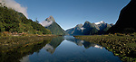 Mitre Peak reflected in Milford Sound Fiordland National Park. New Zealand.