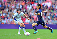 August 06, 2012..Japan's Yuki Ogimi #17 and France's Elise Bussaglia #15 during Semi Final match at the Wembley Stadium on day ten in Wembley, England. Japan defeats France 2-1 to reach Women's Finals of the 2012 London Olympics.