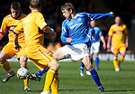 Motherwell v St Johnstone....28.04.12   SPL.Murray Davidson and Steven Jennings.Picture by Graeme Hart..Copyright Perthshire Picture Agency.Tel: 01738 623350  Mobile: 07990 594431