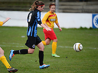 20140104 - AALTER , BELGIUM : Brugge's Nicky Van Den Abbeele pictured during the female soccer match between Club Brugge Vrouwen and Massenhoven VC , of the 1/8 final matchday in the Belgian Women Cup competition. Saturday 4 January 2014 . PHOTO DAVID CATRY