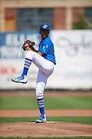 Ogden Raptors starting pitcher Edwin Uceta (15) delivers a pitch to the plate against the Idaho Falls Chukars in Pioneer League action at Lindquist Field on July 2, 2017 in Ogden, Utah. Ogden defeated Idaho Falls 6-5. (Stephen Smith/Four Seam Images)