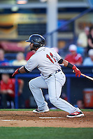 New Britain Rock Cats catcher Jan Vazquez (11) at bat during a game against the Reading Fightin Phils on August 7, 2015 at FirstEnergy Stadium in Reading, Pennsylvania.  Reading defeated New Britain 4-3 in ten innings.  (Mike Janes/Four Seam Images)
