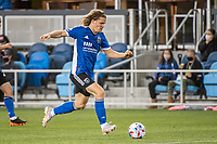 SAN JOSE, CA - MAY 01: Florian Jungwirth #23 of the San Jose Earthquakes dribbles the ball during a game between San Jose Earthquakes and D.C. United at PayPal Park on May 01, 2021 in San Jose, California.