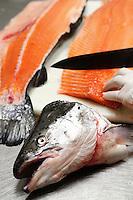 Fresh salmon fish filet and head