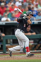 Texas Tech Red Raiders second baseman Brian Klein (5) follows through on his swing during Game 1 of the NCAA College World Series against the Michigan Wolverines on June 15, 2019 at TD Ameritrade Park in Omaha, Nebraska. Michigan defeated Texas Tech 5-3. (Andrew Woolley/Four Seam Images)