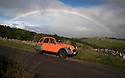 13/09/17<br /> <br /> An colourful old Citroen 2CV is framed by a rainbow near Bakewell as storm Aileen blows into give the Derbyshire Peak District  good soaking.<br /> <br /> <br /> All Rights Reserved F Stop Press Ltd. (0)1773 550665 www.fstoppress.com