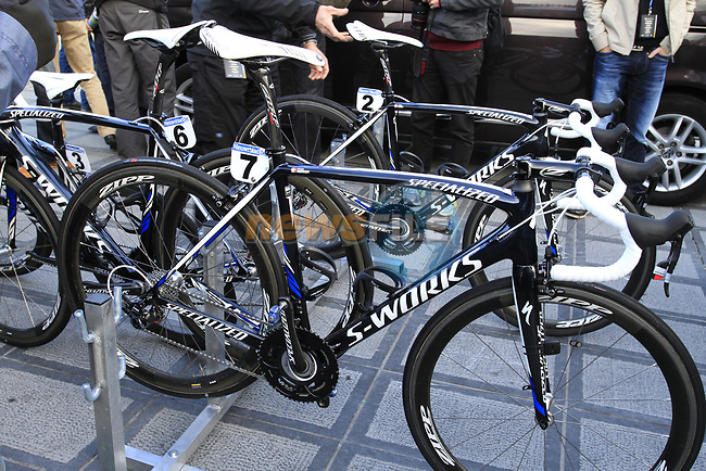 Team Saxo Bank Specialized bikes lined up at the team bus before the start of the 96th edition of The Tour of Flanders 2012 in Bruges Market Square, running 256.9km from Bruges to Oudenaarde, Belgium. 1st April 2012. <br /> (Photo by Steven Franzoni/NEWSFILE).
