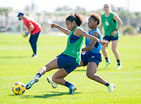 ORLANDO, FL - JANUARY 20: Margaret Purce #23 of the USWNT passes the ball during a training session at the practice fields on January 20, 2021 in Orlando, Florida.