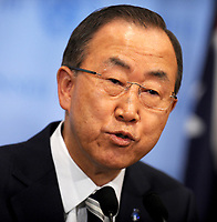 NEW YORK, NY - SEPTEMBER 16: United Nations Secretary-General Ban Ki-moon prepares to speak to the media about the conclusion of the U.N. inspectors' report on chemical weapons use in Syria after a Security Council meeting at the United Nations headquarters on September 16, 2013 in New York City. The report, which concluded that chemical weapons was used in an attack near Damascus on August 21 in which hundreds died, was handed in by the head of the mission, Professor Ake Sellstrom, on Sunday to the Secretary-General at his residence in New York.<br /> <br /> <br /> People:  Secretary General Ban Ki-Moon<br /> <br /> Transmission Ref:  MNC1<br /> <br /> Must call if interested<br /> Michael Storms<br /> Storms Media Group Inc.<br /> 305-632-3400 - Cell<br /> 305-513-5783 - Fax<br /> MikeStorm@aol.com<br /> www.StormsMediaGroup.com