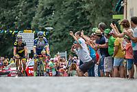 Dion Smith (AUS/Wanty Groupe Gobert) leading the early break away group. <br /> <br /> Stage 2: Mouilleron-Saint-Germain > La Roche-sur-Yon (183km)<br /> <br /> Le Grand Départ 2018<br /> 105th Tour de France 2018<br /> ©kramon