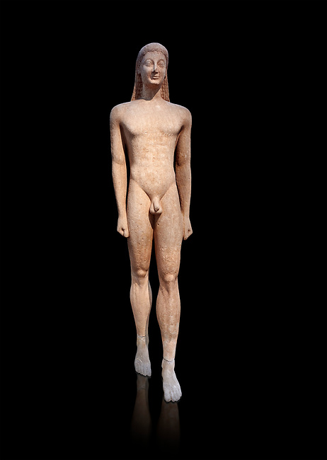 Naxian marble Ancient Greek Archaic statue of a kouros, found in Melos, circa 550 BC, Athens National Archaeological Museum. Cat no 1558.<br /> <br /> The slenderness and delicate grace of the statue is typical of the Cctladic island of