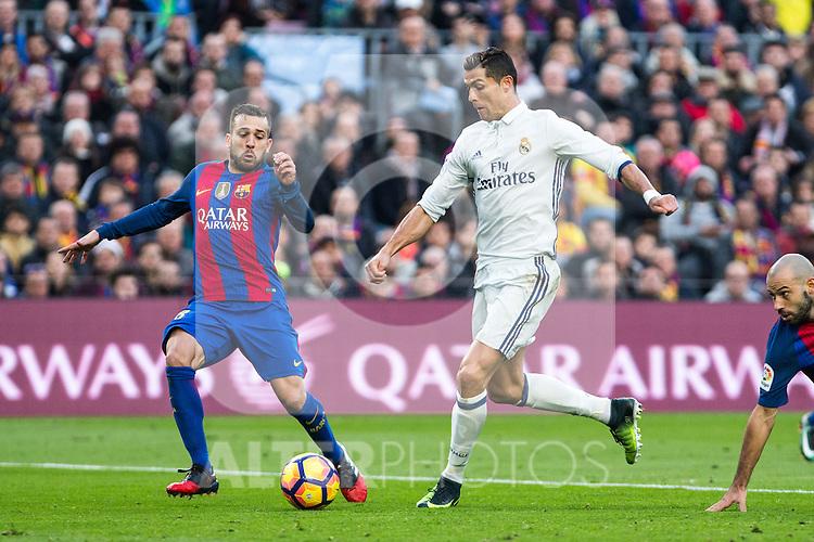 FC Barcelona's Jordi Alba. Real Madrid's Cristiano Ronaldo during spanish La Liga match between Futbol Club Barcelona and Real Madrid  at Camp Nou Stadium in Barcelona , Spain. Decembe r03, 2016. (ALTERPHOTOS/Rodrigo Jimenez)