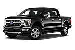 Stock pictures of low aggressive front three quarter view of 2021 Ford F-150 Platinum 4 Door Pick-up Low Aggressive