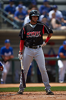 Lake Elsinore Storm third baseman Hudson Potts (15) at bat during a California League game against the Rancho Cucamonga Quakes at LoanMart Field on May 20, 2018 in Rancho Cucamonga, California. Rancho Cucamonga defeated Lake Elsinore 6-2. (Zachary Lucy/Four Seam Images)