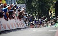 decisive moment in full finale up the infamous Mur de Huy: Alejandro Valverde (ESP/Movistar) distances himself from Julian Alaphilippe (FRA/Etixx-QuickStep) & Daniel Martin (IRL/Etixx-Quickstep)<br /> <br /> Flèche Wallonne 2016