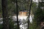 Upper Tahquamenon Falls in Upper Michigan.  Brown water tanic