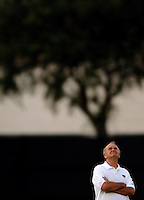 Jacksonville Jaguars owner Wayne Weaver looks up at the brewing storm overhead during a Jags summer training camp practice in Jacksonville, Fl. (The Florida TImes-Union, Rick Wilson)