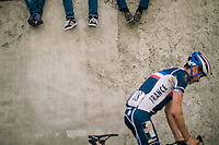 youngsters checking out Warren Barguil (FRA/Fortuneo-Samsic) as he passes by showing signs of an earlier crash<br /> <br /> MEN ELITE ROAD RACE<br /> Kufstein to Innsbruck: 258.5 km<br /> <br /> UCI 2018 Road World Championships<br /> Innsbruck - Tirol / Austria