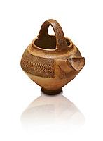 Bronze Age Anatolian decorated terra cotta tea pot with strainer - 19th to 17th century BC - Kültepe Kanesh - Museum of Anatolian Civilisations, Ankara, Turkey.. Against a white background.