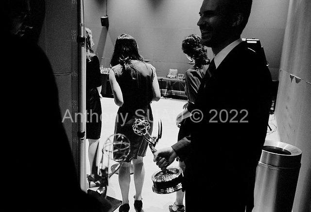 New York, New York<br /> USA<br /> September 27, 2010<br /> <br /> The 31st Annual News and Documentary, Emmy Awards held at Frederick P. Rose Hall, Jazz at Lincoln Center.<br /> <br /> Back stage with the winners as they have their photo made and meet the press.
