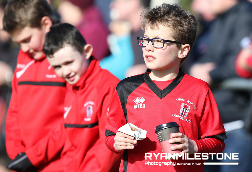 FAI Junior Cup Quarter Final.<br /> Peake Villa v Sheriff YC<br /> Tower Grounds,<br /> Thurles, Co Tipperary<br /> Sunday 12th March 2017<br /> Peake Villa supporters look on.<br /> Photo Credit: Michael P Ryan