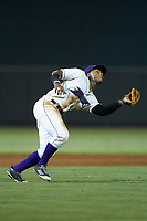 Winston-Salem Dash third baseman Yeyson Yrizarri (2) catches a pop fly during the game against the Myrtle Beach Pelicans at BB&T Ballpark on August 6, 2018 in Winston-Salem, North Carolina. The Dash defeated the Pelicans 6-3. (Brian Westerholt/Four Seam Images)