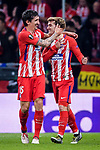 Antoine Griezmann of Atletico de Madrid (R) celebrates after scoring his goal with Stefan Savic of Atletico de Madrid (L) during the UEFA Europa League quarter final leg one match between Atletico Madrid and Sporting CP at Wanda Metropolitano on April 5, 2018 in Madrid, Spain. Photo by Diego Souto / Power Sport Images