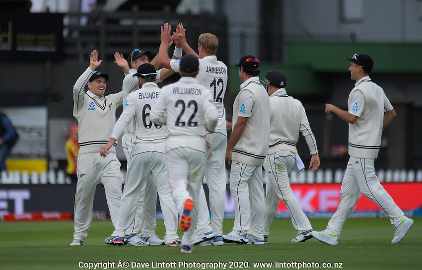 The Black Caps congratulates Kyle Jamieson for bowling Virat Kohli during day one of the International Test Cricket match between the New Zealand Black Caps and India at the Basin Reserve in Wellington, New Zealand on Friday, 21 February 2020. Photo: Dave Lintott / lintottphoto.co.nz