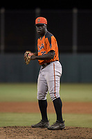 AZL Giants Orange relief pitcher Chris Roberts (85) prepares to deliver a pitch during an Arizona League game against the AZL Athletics at Lew Wolff Training Complex on June 25, 2018 in Mesa, Arizona. AZL Giants Orange defeated the AZL Athletics 7-5. (Zachary Lucy/Four Seam Images)