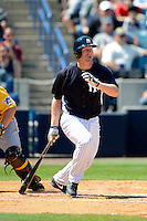 New York Yankees first baseman Lyle Overbay #55 during a Spring Training game against the Pittsburgh Pirates at Legends Field on March 28, 2013 in Tampa, Florida.  (Mike Janes/Four Seam Images)