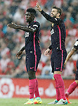 FC Barcelona's Samuel Umtiti (l) and Gerard Pique during La Liga match. August 28,2016. (ALTERPHOTOS/Acero)
