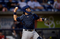 Mobile BayBears catcher Julian Leon (20) during a Southern League game against the Mobile BayBears on July 25, 2019 at Blue Wahoos Stadium in Pensacola, Florida.  Pensacola defeated Mobile 3-2 in the second game of a doubleheader.  (Mike Janes/Four Seam Images)